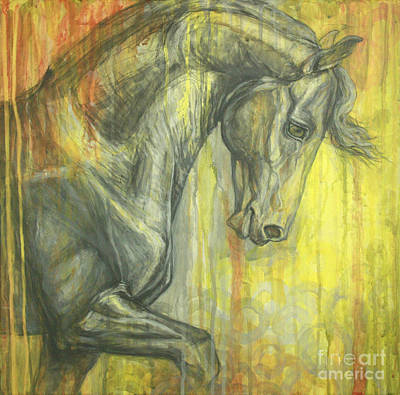 Black Friesian Painting - Glorious by Silvana Gabudean Dobre