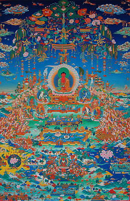 Tibetan Buddhism Painting - Glorious Sukhavati Realm Of Buddha Amitabha by Art School