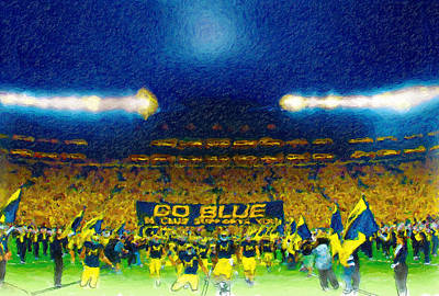 University Of Michigan Painting - Glory At The Big House by John Farr