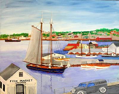 Painting - Gloucester Fish Mkt. And Schooners 1939 by Bill Hubbard