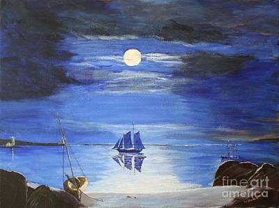 Painting - Gloucester Harbor By Moonlight by Bill Hubbard