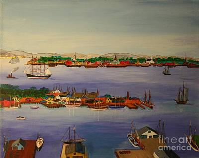 Bill Hubbard Acrylic Painting - Gloucester Harbor Morning 1905 by Bill Hubbard