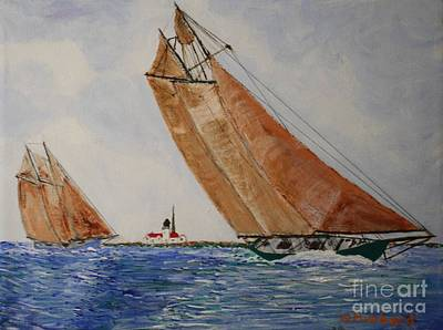 Eastern Point Painting - Gloucester Schooners Racing by Bill Hubbard