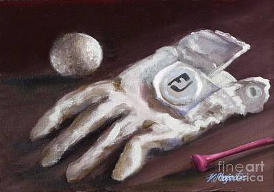 Professional Golf Painting - Glove And Tee by Viktoria K Majestic