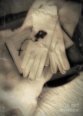 Gloves Rosary And Open Bible Art Print by Jill Battaglia
