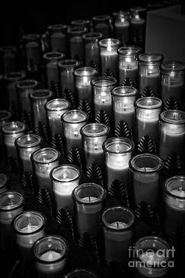 Altar Photograph - Glowing Candles In A Church by Edward Fielding