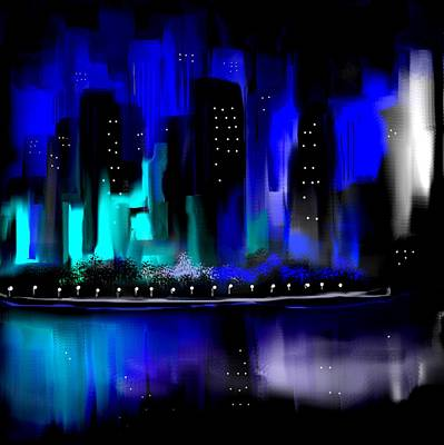 Painting - Glowing City In Blue And Aqua by Jessica Wright