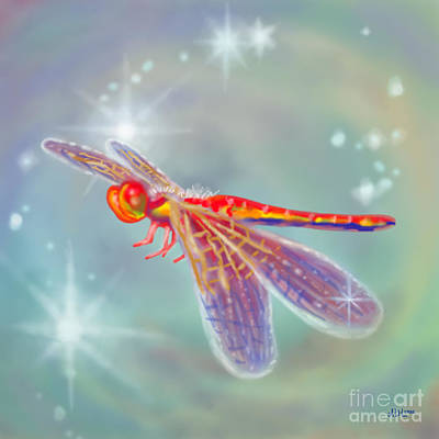 Digital Art - Glowing Dragonfly by Audra D Lemke