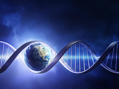 Glowing Earth Dna Strand Art Print by Johan Swanepoel