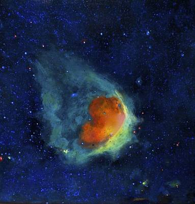 Outer Space Painting - Glowing Emerald Nebula by Jim Ellis