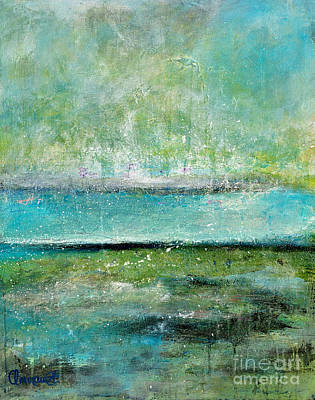 Abstract Seascape Mixed Media - Glowing Even When It's Raining by Johane Amirault