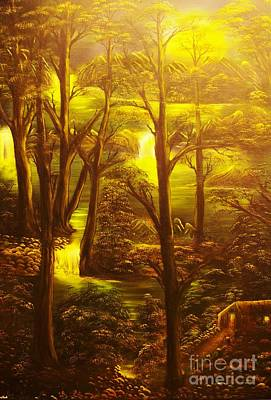 Glowing Evening Falls-original Sold- Buy Giclee Print Nr 28 Of Limited Edition Of 40 Prints   Art Print