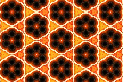 Repeat Digital Art - Glowing Floral Pattern by Hakon Soreide