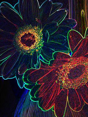 Digital Art - Glowing Gerberas by Amber Nissen