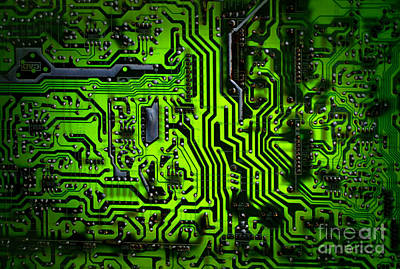 Chip Photograph - Glowing Green Circuit Board by Amy Cicconi