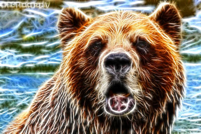 Grizzly Bear Mixed Media - Glowing Grizzly by Davandra Cribbie