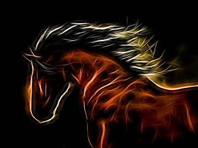 Digital Art - Glowing Horse by Daniel Eskridge