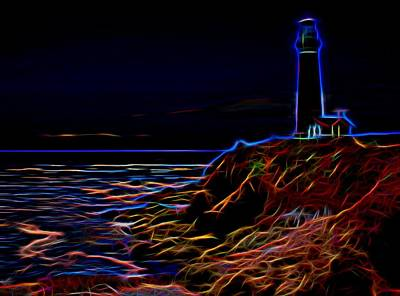 Photograph - Glowing Lighthouse by Judy Vincent