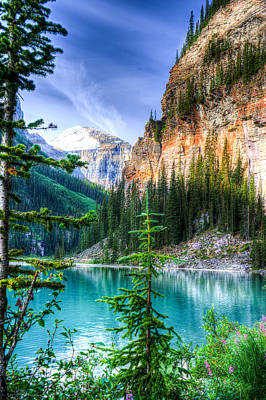 Chasm Lake Photograph - Glowing Mountain Lake Louise by Douglas Barnett