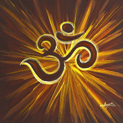 Glowing Om Symbol Art Print