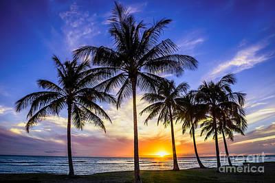Glowing Orange Hawaiian Sunset Art Print by Aloha Art