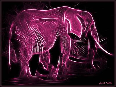 Painting - Glowing Pink Elephant by Jon Volden