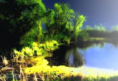 Glowing Pond On A Foggy Night Art Print by Ann Almquist