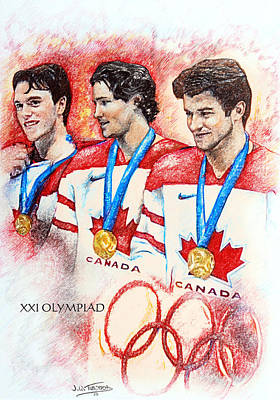 Olympic Hockey Drawing - Glowing Pride by Jerry Tibstra