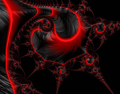 Glowing Red And Black Abstract Fractal Art Art Print