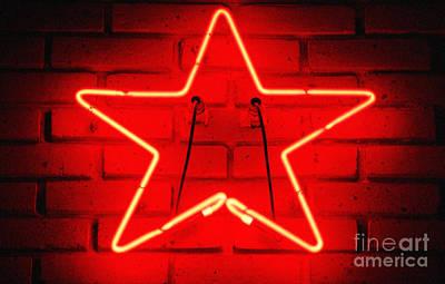 Digital Art - Glowing Red Neon Star Shaped Tavern Wall Decor Diffuse Glow Digital Art by Shawn O'Brien