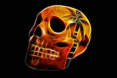 Dark Photograph - Glowing Skull by Shane Bechler