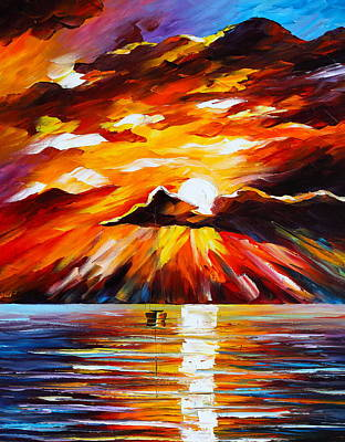 Waterscape Painting - Glowing Sun by Leonid Afremov