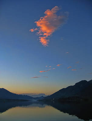 Photograph - Glowing Sunset Clouds Over Lake Wolfgangsee by Menega Sabidussi