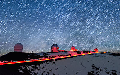 Photograph - Glowing Telescopes Under The Star Trails by Jason Chu
