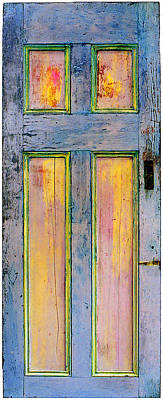 Old Panelled Door Painting - Glowing Through Door by Asha Carolyn Young