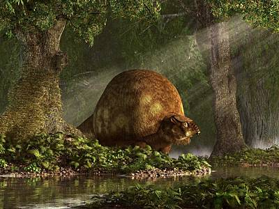 Prehistoric Digital Art - Glyptodon by Daniel Eskridge