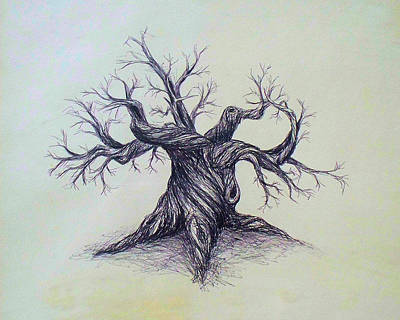 Drawing - Gnarled Tree by Troy Caperton