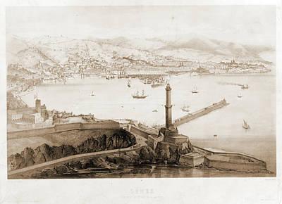Genoa Drawing - Gênes Vue Prise Au Dessus De La Lanterne   Dessine Par by Litz Collection