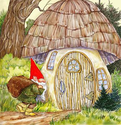 Gnome And Toadstool Home Original by Peggy Wilson