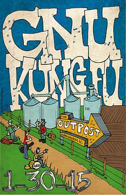 Kung Fu Drawing - Gnu Kung Fu - Armington by Jon Griffin