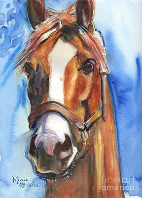 Head Painting - Horse Painting Of California Chrome Go Chrome by Maria's Watercolor