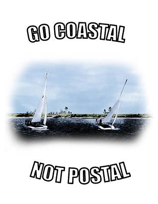 Photograph - Sailboats- Coast - Go Coastal - Not Postal by Barry Jones