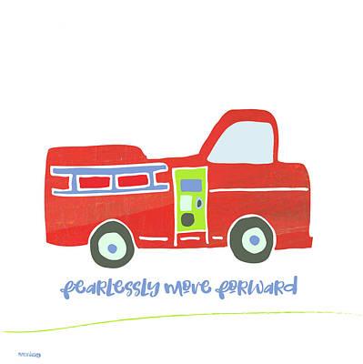 Firetruck Painting - Go Fearlessly Firetruck by Pamela J. Wingard