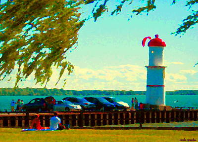 Summer Along The Canal Painting - Go Fly A Kite Off A Short Pier Lachine Lighthouse Summer Scene Carole Spandau Montreal Art  by Carole Spandau