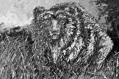 Go Griz Black And White Art Print by Jodi Monahan