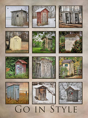Old-fashioned Digital Art - Go In Style - Outhouses by Lori Deiter