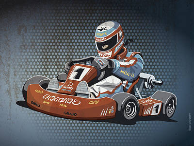 Racetrack Digital Art - Go-kart Racing Grunge Color by Frank Ramspott