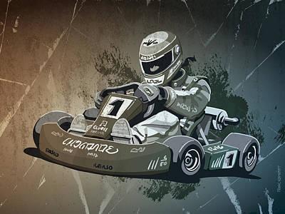 Racetrack Digital Art - Go-kart Racing Grunge Monochrome by Frank Ramspott