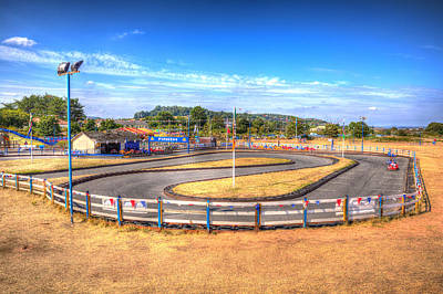 Go Kart Wall Art - Photograph - Go Karts Racing Around The Track by Michael Charles