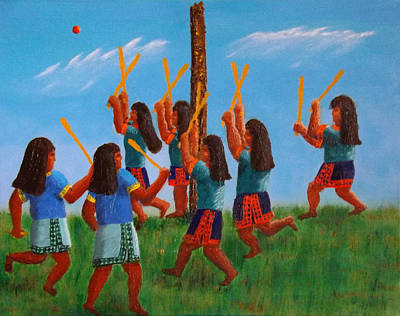 Painting - Goal Tending First In Stickball Series by Tim Longwell